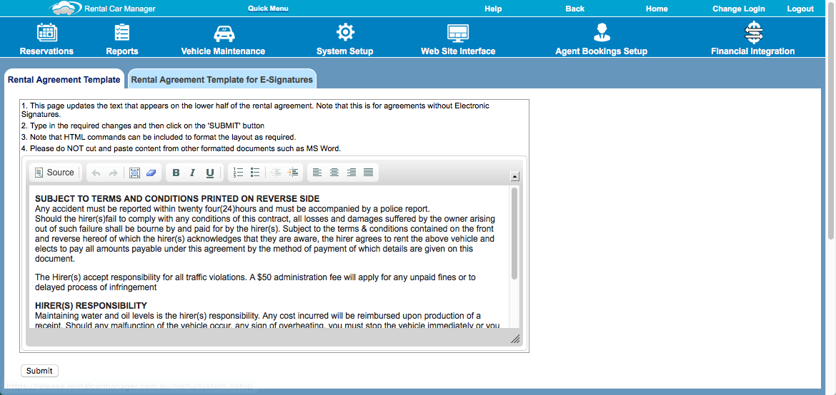 Rental Agreement Template Rental Car Manager Knowledge Base